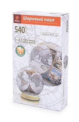 Шаровый Пазл Старинная карта  мира (540 деталей, 23 см) - фото 10732