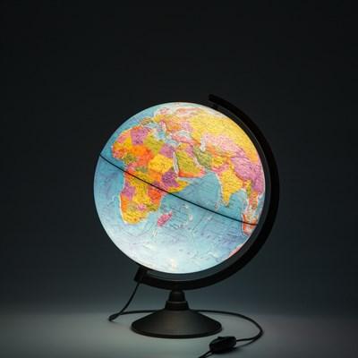 Глобус Земли физико-политический 320 мм с подсветкой Рельефный Классик - фото 15765