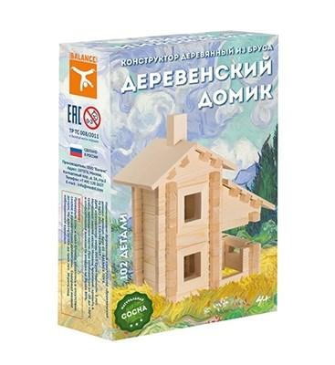 Конструктор деревянный из бруса Деревенский домик, 102 детали - фото 7614