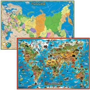 Двусторонняя карта. Животные и РФ детская