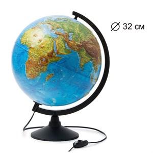 Глобус Земли физико-политический 320 мм с подсветкой Рельефный Классик