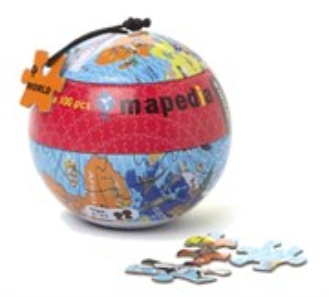 Пазл в металлическом шаре -  Карта Мира 368705