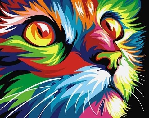 Картина по номерам Радужный кот**