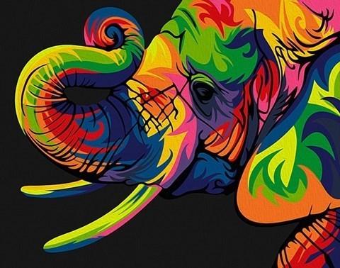 Картина по номерам  Радужный слон**