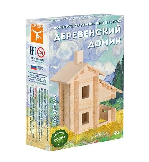 Конструктор деревянный из бруса Деревенский домик, 102 детали