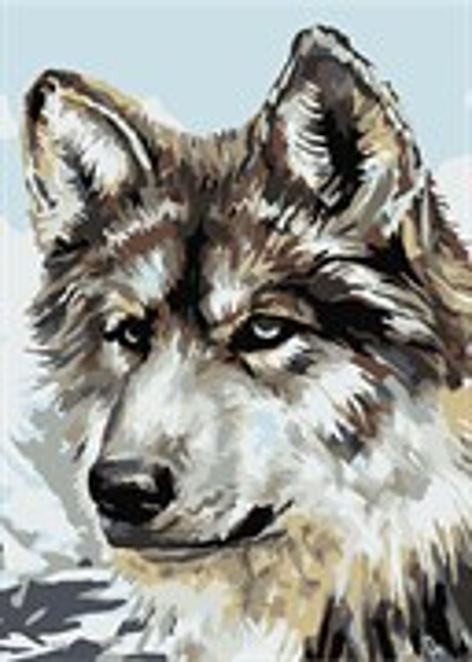 Раскраска по номерам Серый волк