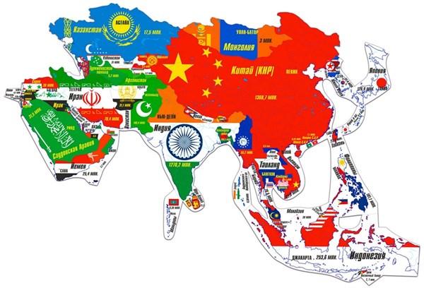Магнитный географический пазл Азия